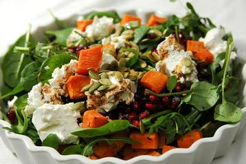 Sweet Potato, Pomegranate and Pumpkin Seed Salad