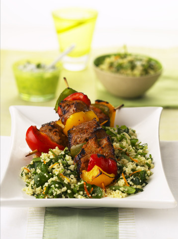 Lamb Kebabs With Orange And Watercress Couscous