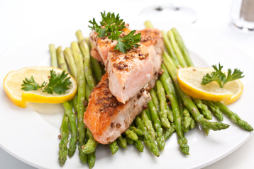 Steamed Salmon and Asparagus with Mustard Dill Sauce