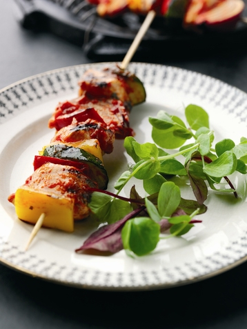Chicken and Italian Vegetable Skewers with Tomato & Chilli Baste