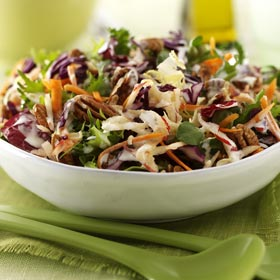 Red Cabbage Salad with Orange and Walnut Dressing