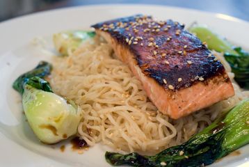 Recipe Toasted Sesame Wild Salmon with Ginger and Spring Onion - mydish