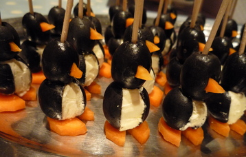 Penguin canapes perfect christmas canapes recipe mydish for Christmas canape ideas