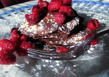 Chocolate Pancakes with Raspberries and Creme Fraiche