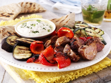 Moroccan Lamb and Vegetables with Houmous and Mint Dip