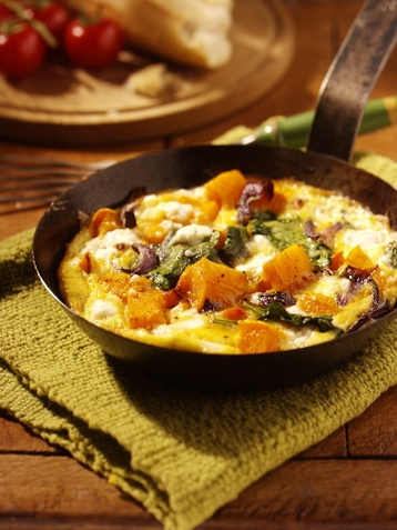 Roasted Butternut Squash Frittata with Feta and Spinach