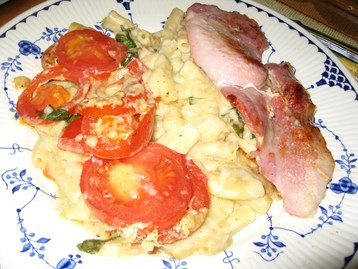 Macaroni Cheese, with Basil and Tomato Topping