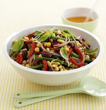 Mixed Bean Salad with Tomato Dressing