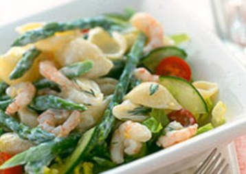 Prawn and Asparagus Pasta Salad with Lemon Dressing