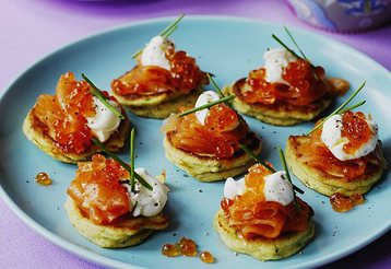 Potato Blinis with Smoked Salmon and Chives
