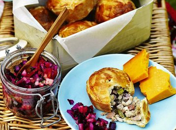 Pork, Celery and Apple Pies with Beetroot Salsa