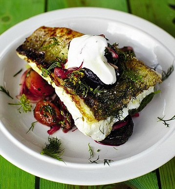 Jamie Oliver S Pike Perch And Roasted Beet Salad Recipe Mydish