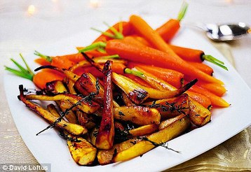 Jamie Oliver's Christmas Honey Roast Parsnips and Baby Carrot