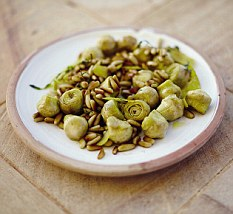 Jamie Oliver's Sticky Pine Nutes and Artichokes