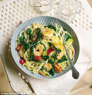 Recipe Gino D'Acampo's Liguine with Garlic, Prawns and Spinach - mydish