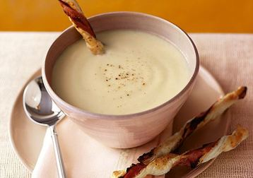 Jo Pratt's Cauliflower Cheese Soup with Ham and Tomato Twists