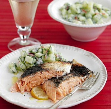 Jo Pratt's Whole Barbecued Salmon with Cucumber and Dill Salad