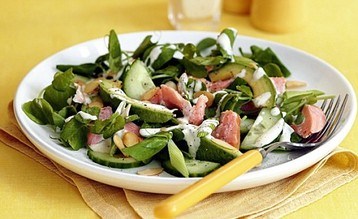 Jo Pratt's Smoked Trout and Pea Top Salad with Horseradish Dressing