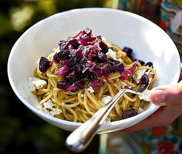 Jo Pratt's Saffron and Pesto Spaghetti with Beetroot and Feta