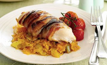 Jo Pratt's Roast Chicken Breast with Squash, Leeks and Pancetta