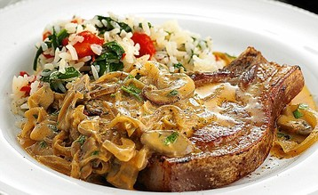 Jo Pratt's Pork Chops with Stroganoff Sauce and Red Pepper Rice
