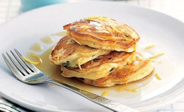 Jo Pratt's Ricotta, Lemon and Raisin Hotcakes with Maple Syrup