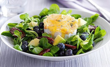 Jo Pratt's Warm Goat's Cheese Salad with Blueberries and Crunchy Spiced Pecans