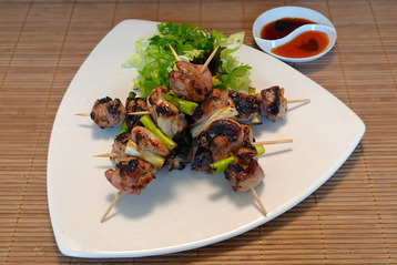 Chargrilled Chicken Skewers with Chinese Mushroom Sauce