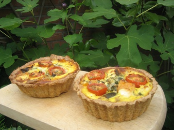 Feta and roast vegetable tarts with spelt pastry