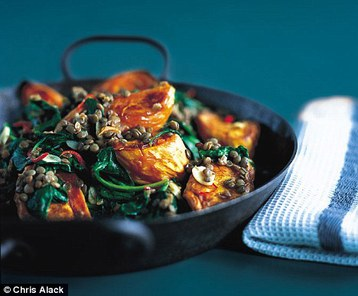 Annie Bell's Roast Sweet Potatoes with Lentils and Spinach