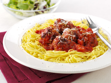 Turkey Meatballs with Red Pepper Pasta