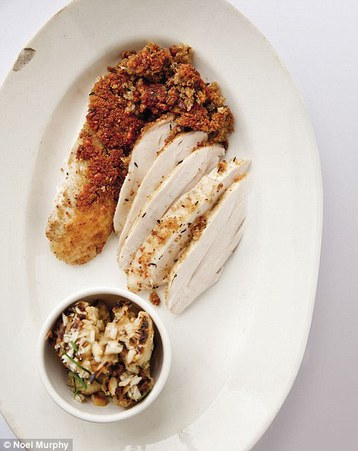 Marcus Wareing's Poached and Roasted Chicken with Almond and Thyme Crust and Chargrilled C