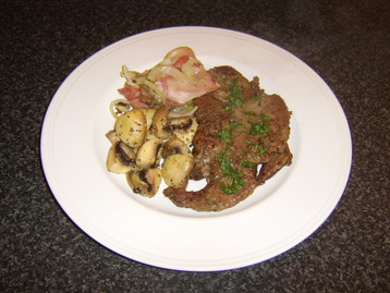 Lambs Liver, Bacon and Onion with Garlic Mushrooms and Homemade Mint Sauce