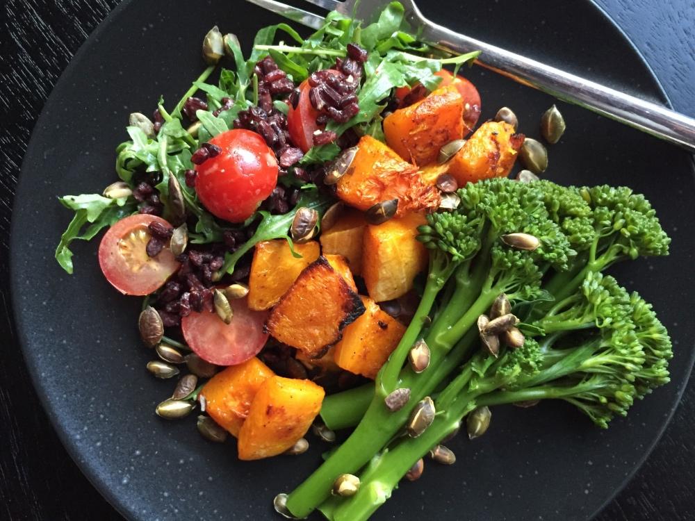 Roasted Butternut Squash Rocket And Broccoli Salad Recipe Mydish